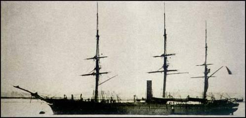 """La corbeta """"La Unión""""  que logró salir indemne del acoso de la flota chilena."""