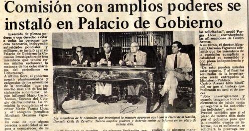 """""""La República"""" dio cuenta de la instalación de la Comisión en sábado 5 de febrero de 1983."""