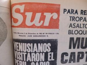 Mi primer día en Tacna.. y mi primera página, el 5 de diciembre de 1962. Todo venía de Lima aunque tuve algunas noticias sensacionales.