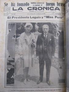 El presidenteLeguía y la primera Miss Perú, en febrero de 1930. En setiembre sería derrocado.