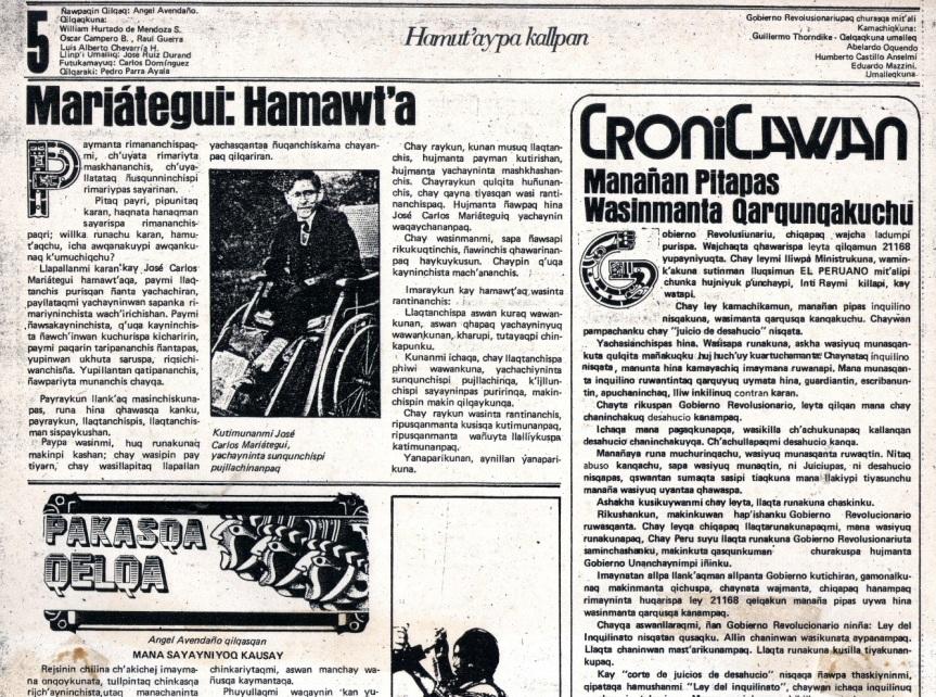Página editorial de La Crónica en quechua.