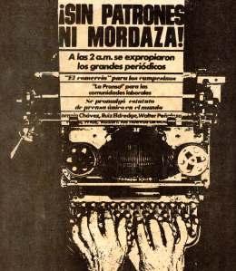 Primera página de La Crónica dirigida por Guiller Thorndike, en julio de 1974.