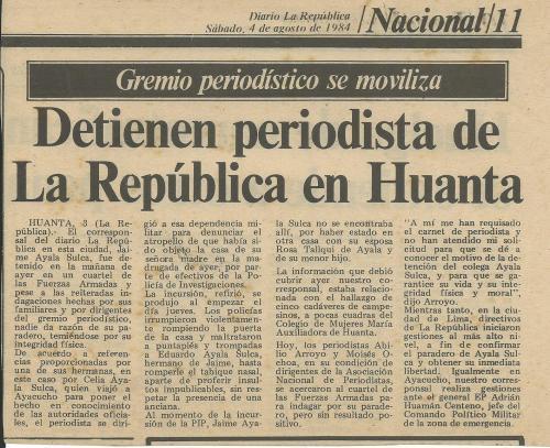 Esta fue la primera información que publicó La República de la desaparici´pon de su corresponsal Jaime Ayala. 30 años después, el crimen sigue impune.