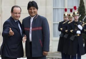 Evo con Hollande, quien le aseguraba su amistd.