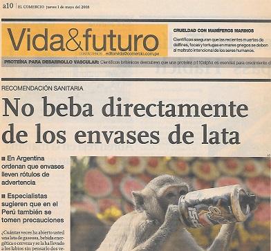 Imaginamos que el monito siguió el consejo de El Comercio...